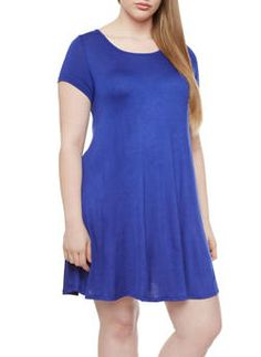 Plus Size Short Sleeve Trapeze Dress With Criss Cross Back,RYL BLUE