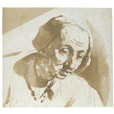 Un anciano que llevaba una gorra, dibujo de Guercino (Barbieri, Giovanni Francesco) (1591-1666, Italy)