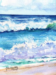 Kauai South Shore Beach 3 Original Watercolor Painting from Kauai Hawaii blue teal turquoise aqua sand Watercolor Ocean, Watercolor Art Diy, Watercolor Art Paintings, Watercolor Landscape, Watercolor Illustration, Watercolours, Hawaiian Art, Sea Art, Ocean Waves