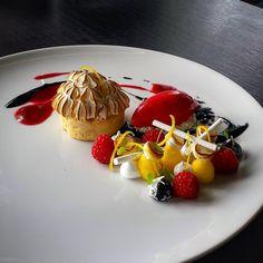 """Lemon, Raspberry and Liqourice #pastry #pastrychef #patisserie #dessertmasters #dessert"""