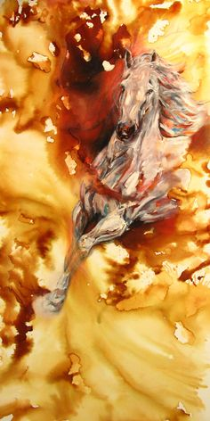 Horse Painting Equine Abstract Original by DennisFineArt