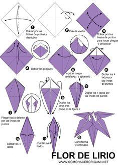 flor de lirio origami paso a paso
