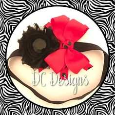 Black and red polka dot baby headband