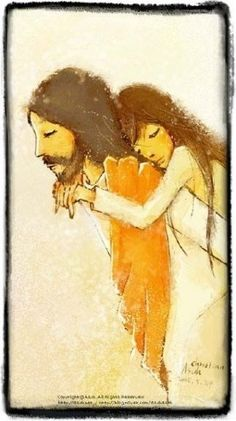 Jesus carrying a tired girl