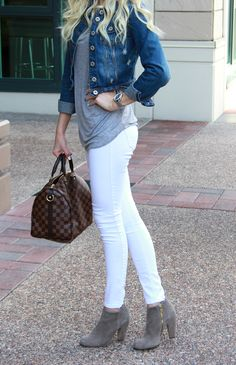 Jean Jacket | White Jeans | Grey Booties | Louie Vuitton Purse | Fashion Blogger