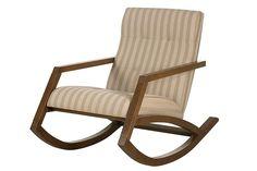 Cadeira de Balanço Mordomia - Chocolate + Tecido Listrado
