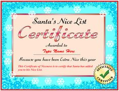 nice list certificate more holiday ideas kiddo s stuff nice list ...