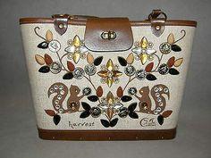 "Excellent Vintage ENID COLLINS ""HARVEST"" Brown White Purse Canvas Beads Texas"