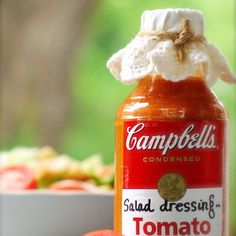 Try Tomato Soup Dressing! You'll just need 1 can condensed tomato soup, cup olive oil, cup white vinegar, cup brown sugar, 1 Tablespoon. French Salad Dressings, Salad Dressing Recipes, Salad Recipes, Salad Bar, Soup And Salad, Quinoa Salad, Tomato Soup, Tomato Salad, Cooking Recipes
