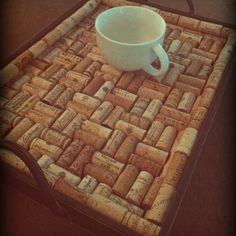 DIY cork board tray! All you need is a serving tray, wine corks, & a hot glue gun! :)