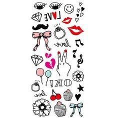 HJLWST Large Back Shoulder Tattoos Sticker Body Art Candy Color Kiss Small Element Water Transfer Fake Tattoo Sticker *** You can find more details by visiting the image link. (This is an affiliate link) #TemporaryTattoos