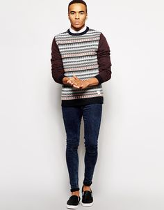 Image 4 of Native Youth Fair Isle Contrast Sleeve Sweater