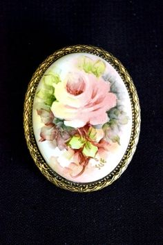 Handpainted Victorian Style Porcelain Pink Rose Brooch Pin