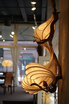SONY DSC Stephen White is a Pacific Northwest artist, who makes absolutely mesmerizing lighting. He uses wood and paper to create lighting sculptures.