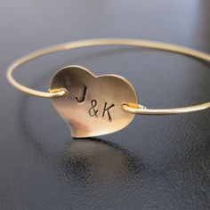 Personalized Initial Heart Bangle Bracelet, Couples Initials, Custom Anniversary Gift, Custom Wedding Gift for Bride, Wedding Gift for Mom.