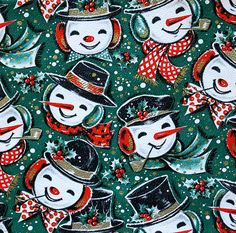 Vintage Kaycrest Christmas Wrapping Paper - Jolly Snowmen | Flickr