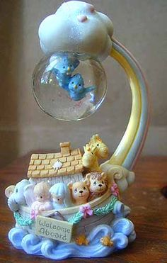 PRECIOUS MOMENTS NOAH'S ARK FIGURINE WITH WATER BALL from Enesco