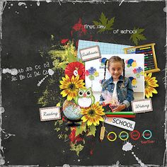 Ella my granddaughter and her first school day ♥ *School Days Collection* by et designs & Palvinka designs First Day Of School, School Days, Dark Backgrounds, Cute Photos, Cute Girls, Blog, Sd, Scrapbooking, Design