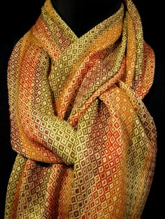 fall scarf, hand woven scarf, orange gold brown bamboo cotton, handwoven autumn colors scarf, bright foliage, Loom Lake weaver. $150.00, via Etsy.