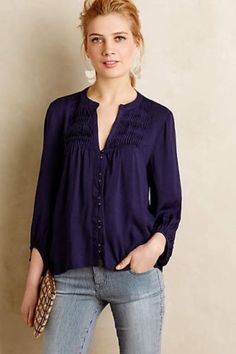 Anthropologie Pintuck Peasant Blouse Dark Blue Top Maeve Size 10 #Anthropologie #Blouse #Casual