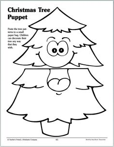 Christmas Tree Paper-Bag Puppet (Pattern)You can find Puppets and more on our website. Preschool Christmas, Christmas Crafts For Kids, Christmas Activities, Xmas Crafts, Preschool Crafts, Christmas Themes, Fish Crafts, Toddler Christmas, Spring Crafts