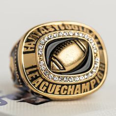 Fantasy Football Championship Rings - Take your trash talk to a whole new level at this year's draft! Championship Trophies, Belts, Rings & more! Fantasy Football Rings, Fantasy Football League, Fantasy League, Football Trophies, Football Helmets, Football Names, Football Stuff, Gifts For Fiance, Dads