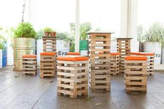 deconstructed pallets as pub tables and seating