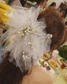 チュールリボン×かすみ草の花嫁ヘッドドレスまとめ | marry[マリー]