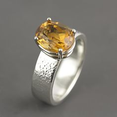 Citrine Engagement Ring - Hammered Silver Silver Band Ring - Dark Brazilian Citrine - Oval Stone Ring - Basket Setting - SaraHoodJewelry on Etsy