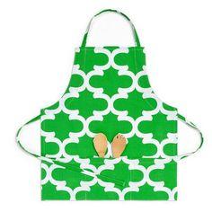 Linen Tablecloth Trellis Bib Apron Color: Green/White