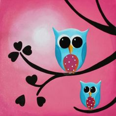 Owl paintings | ... and baby owl acrylics on canvas gloss varnish back to the owls range