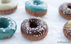 Baked chocolate donuts with vanilla + choco + almond glaze