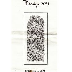 Butterfly Crochet Afghan Pattern, Mail Order Design 7051 -- This particular afghan is almost big enough to be a small blanket, measuring 60 x 91 inches -- Vintage Knit Crochet Pattern Shop