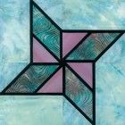 Stained Glass Double Star Quilt Block Pattern