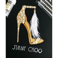 Jimmy choo bridal shoes illustration by Houston fashion illustrator Rongrong DeVoe