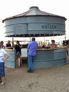 Grain bin silo outdoor bar. Outdoor kitchen if you install screen?