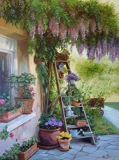 Marc Lamers, Flowers on stairs - ArtBoutique Watercolor Landscape, Landscape Art, Watercolor Art, Anime Scenery Wallpaper, Garden Illustration, Garden Painting, Garden Art, Country Art, Aesthetic Art