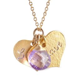 Engraved 18ct gold-vermeil 2 hearts necklace