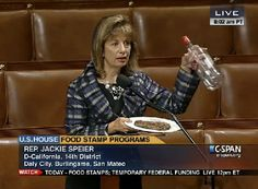 "Congresswoman Uses Steak, Vodka, And Caviar To Hammer Republicans On Food Stamp Cuts: They each received almost $200 for a single meal, paid for by US taxes. ""Another member was given $3,588 for food and lodging during a 6-day trip to Russia. That particular member has 21,000 food stamp recipients in his district. One of those people who is on food stamps could live a year on what this congressman spent on food and lodging for 6 days,"" she added."