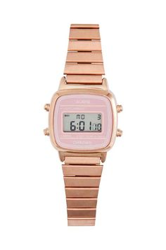 Montre digitale: Montre en métal avec affichage digital. Modèle avec indication de date, alarme et chronomètre. Dimensions du cadran 2x2 cm. Largeur du bracelet 1 cm environ, longueur 20 cm.