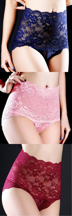 Lace High Waisted Hip-lifting Cotton Crotch Tummy Slimming Safety Panties #fashion #style #love #lingerie
