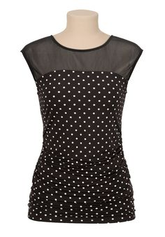 Cinched side dot print illusion neck top - maurices.com