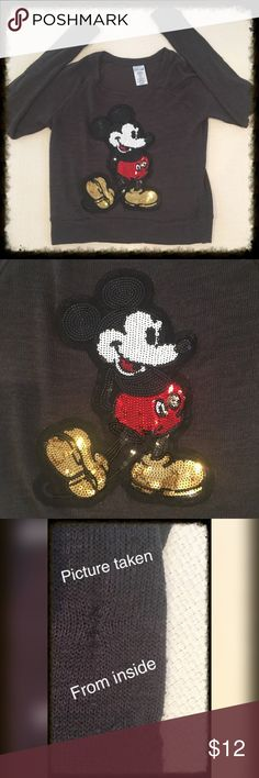 """Disney•Sz S•Sequined•Mickey Mouse•L/S•Sweater•Jr Love! Love! Love! This sweater. Bought it online on another site + it was listed as brand new. As I was going over the sweater, there is some pilling,+some stitching underneath the inside of the arms. 21"""" in length•18"""" across•26"""" at the bottom of the sweater•28"""" down center of the sleeves•41% Rayon•50% Polyester•3% spandex. I took the best pictures I could to show you the sweater. I paid a lot of $ for it+whoever buys this will totally enjoy…"""