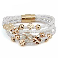 Rose Gold Color Leaf Clover Crystal Charm Leather Bracelet