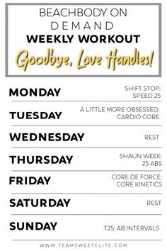 Weekly Workout Plans, Workout Schedule, Weekly Workouts, Workout Guide, Workout Routines, 21 Day Fix Workouts, Toning Workouts, Fitness Workouts, Exercises