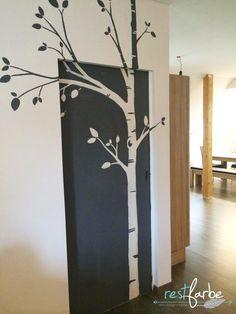 """restfarbe: Wandverschönerung """"BIRKE"""", Wandfarbe Grau und Weiß negativ gemalt, beinahe Originalgröße, Wanddeko, Wandbild, do it yourself"""