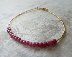 Red Ruby Bracelet with 24K Gold Vermeil by RenataandJonathan, $95.00 #jewelry
