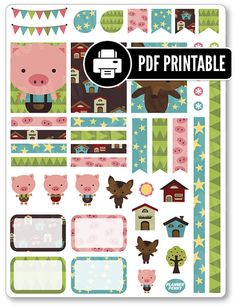 """One 8.5"""" x 11"""" PDF PRINTABLE little pigs decorating kit stickers for use in your Erin Condren life planner, Filofax, Plum Paper, etc!  ‣ PRINTABLE/DOWNLOADABLE FILE ONLY. Nothing will be shipped. ‣ FOR PERSONAL USE ONLY. COMMERCIAL USE OF ANY KIND IS PROHIBITED.  •••••••• F O L L O W •••••••• f: www.facebook.com/kgplanner i: www.instagram.com/kgplanner t: www.twitter.com/kimgrish  •••••••• A R T W O R K •••••••• Artwork under free commercial use with attribution: © Freepik.com, ©…"""