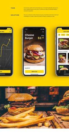 Mobile User Interface Design: Tasty Burger App on Behance Web Design, App Ui Design, Mobile App Design, User Interface Design, Food Design, Layout Design, Web Mobile, Mobile App Ui, Website Design Inspiration