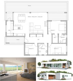 Small home plan with very simple lines and shapes. Affordable to build, three bedrooms and bathrooms. Floor Plan from ConceptHome.com